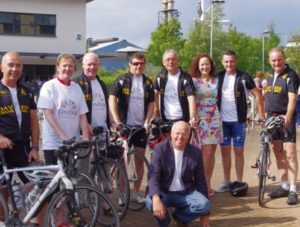 Cycling team with Cerebra staff