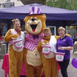 Cerebra mascot with fundraisers