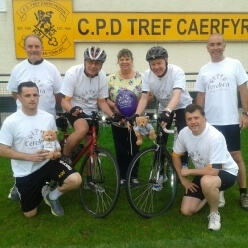 Group from Carmarthen Town AFC getting ready to start cycle ride