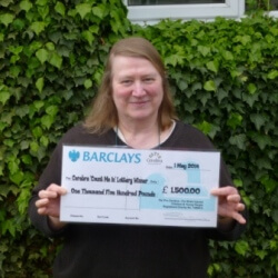 Myra with her cheque