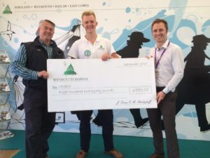 Gareth receives the cheque