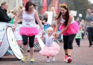 Sarah and Annaleigh at the Cardiff half marathon helping support Lucy to toddling victory!