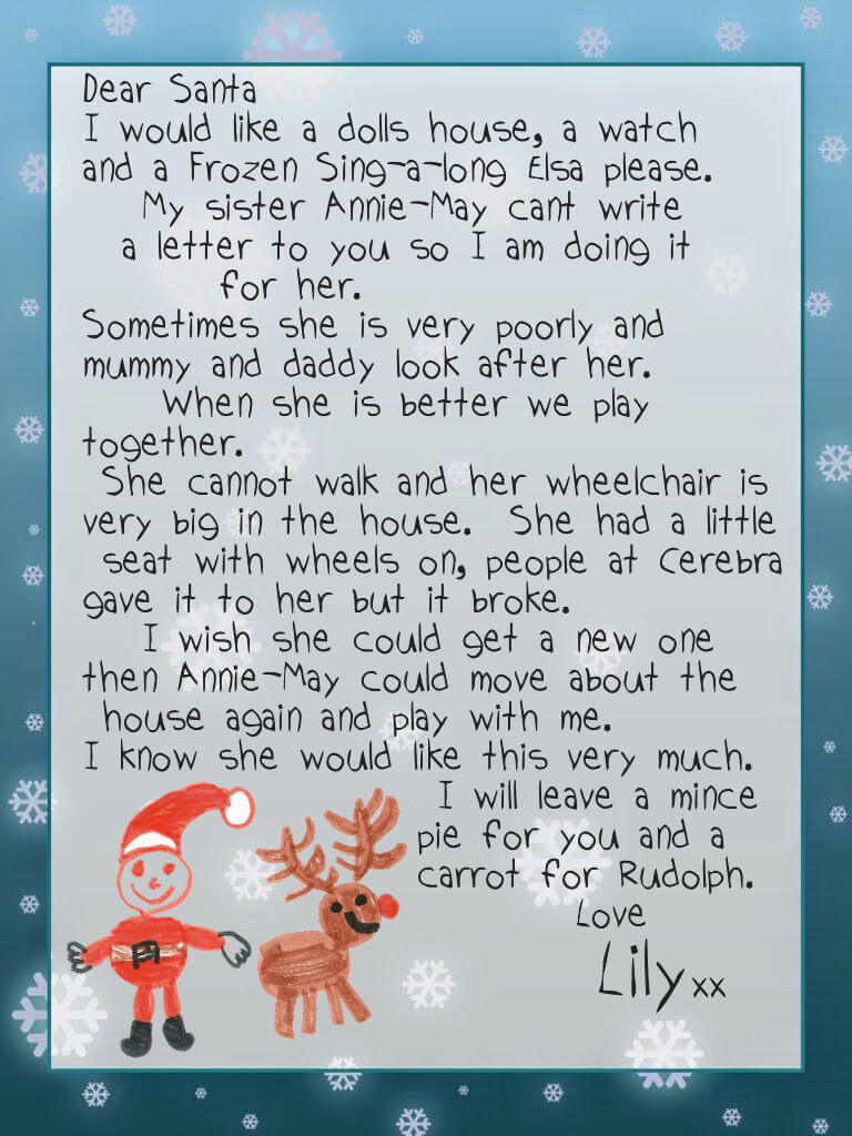 Lily's letter to Santa