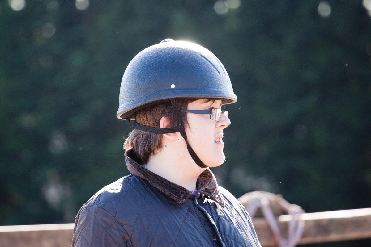 Tommy Lee wearing his helmet