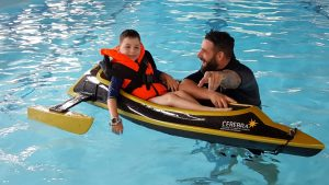 Rhys and Anthony testing the boat for the triathlon