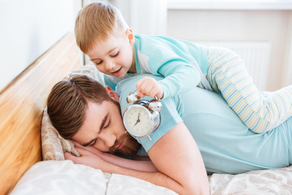 sleeping parent with toddler