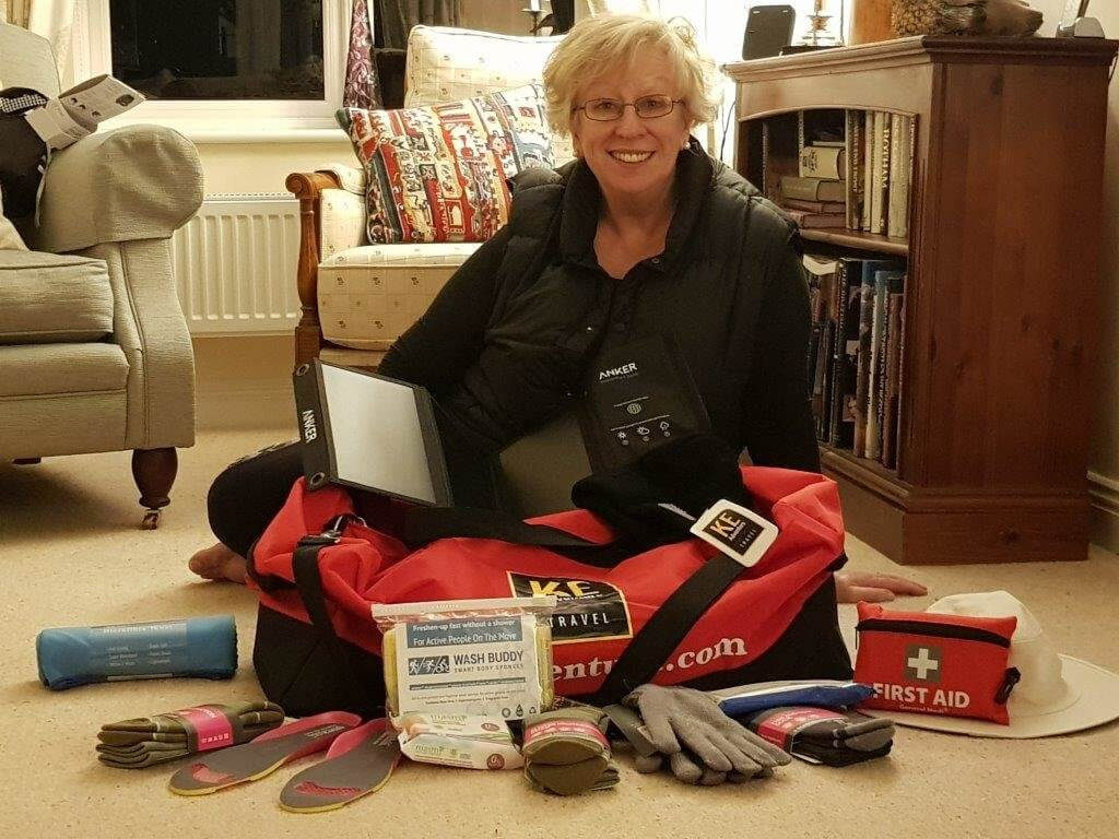 Christine with her equipment to get her to base camp