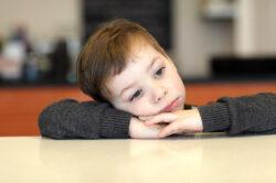 Little boy looking anxious.