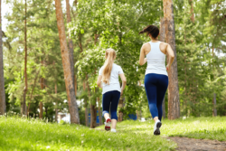 mum and daughter running together